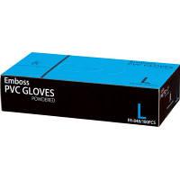 ファーストレイト エンボスPVCグローブ パウダーイン プラスチック Lサイズ FR-848 1箱(100枚入)(使い捨てグローブ)