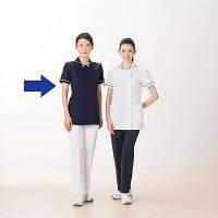 AITOZ(アイトス) スクエアネックチュニック(ナースジャケット) 医療白衣 半袖 ダークネイビー 4L 861365-088 (直送品)