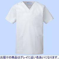 KAZEN カラースクラブ(男女兼用) 医療白衣 半袖 シルバーホワイト L 133-90 (直送品)