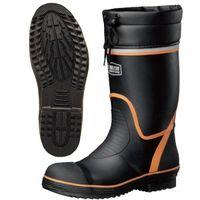 ミドリ安全 2146002008 先芯・踏抜防止板入り安全長靴 ワークプラスブーツ766NPー4 黒×オレンジ 24.5cm 1足 (直送品)