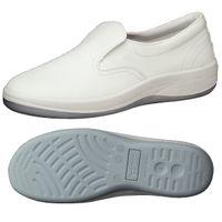 ミドリ安全 静電 作業靴 スリッポン SU401 先芯なし 25.5cm ホワイト 1足 2100107010(直送品)