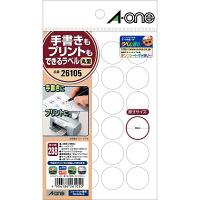 エーワン ラベルシール 丸シール 整理・表示用 プリンタ兼用 マット紙 白 はがきサイズ 24面 丸型 1袋(12シート入) 26105