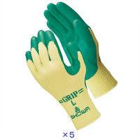 天然ゴム背抜き手袋 簡易包装グリップ(ソフトタイプ) L グリーン 5双 「現場のチカラ」 310 ショーワグローブ