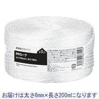 「現場のチカラ」 PPロープ 6mm×200m 白 1巻 アスクル