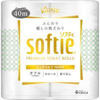 トイレットペーパー 4ロール パルプ ダブル 40m クリネックスソフティ ピュアホワイト 1パック(4個入) 日本製紙クレシア