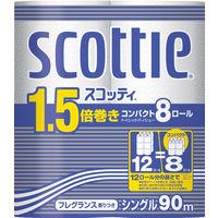 トイレットペーパー 8ロール入 再生紙配合 シングル 90m 花の香り スコッティ1.5倍巻きコンパクト 1パック(8ロール入) 日本製紙クレシア