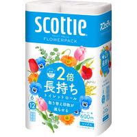 トイレットペーパー 6ロール 古紙配合 花の香り シングル 100m スコッティフラワーパック2倍巻き 1パック(6個入) 日本製紙クレシア
