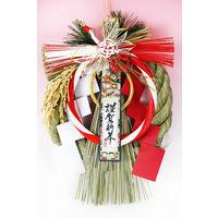 紅白慶び鶴 しめ飾りリース型 GE67 神明堂