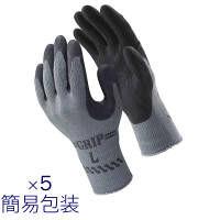 天然ゴム背抜き手袋 簡易包装グリップ(ソフトタイプ) L ブラック 5双 「現場のチカラ」 310 ショーワグローブ