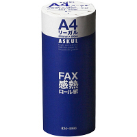 高感度FAX感熱ロール紙 A4リーガル(幅216mm) 長さ100m×芯径1インチ(ロール紙外径 約88mm) 1箱(6本入) アスクル