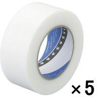 寺岡製作所 養生テープ P-カットテープ No.4140 塗装養生用 半透明 幅50mm×長さ50m巻 1セット(5巻:1巻×5)