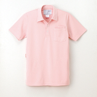 ナガイレーベン 男女兼用ニットシャツ 介護ユニフォーム ペールピンク S CX-2437(取寄品)