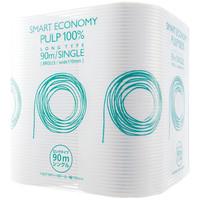 トイレットペーパー 8ロール パルプ シングル 90m オリジナルトイレットロールスマートエコノミーロングタイプ 1パック(8個入) アスクル