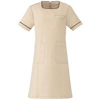 AITOZ(アイトス) スクエアネックパイピングワンピース(ナースワンピース) 医療白衣 半袖 ライトベージュ L 861113-012