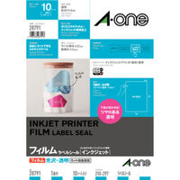 エーワン ラベルシール パッケージラベル インクジェット 光沢フィルム 透明 A4 ノーカット1面 1袋(10シート入)×3袋 28791