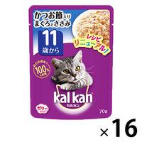 kalkan(カルカン) キャットフード パウチ 11歳から かつお節入り まぐろとささみ 70g 1箱(16袋入) マースジャパン