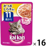 kalkan(カルカン) キャットフード パウチ 11歳から しらす入り かつお 70g 1箱(16袋入) マースジャパン