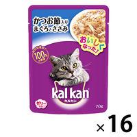 kalkan(カルカン) キャットフード パウチ かつお節入り まぐろとささみ 70g 1箱(16袋入) マースジャパン