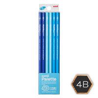 三菱鉛筆(uni) ユニパレット 鉛筆 4B 六角・パステルブルー軸 K55604B 1ダース(12本入)