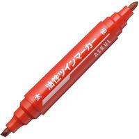アスクル油性ツインマーカー 太/細 赤 50本 油性ペン