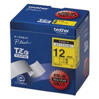 ブラザー ピータッチテープ ラミネート バリューパック 12mm 黄テープ(黒文字) 1パック(5個入) TZe-631V