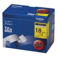 ブラザー ピータッチテープ ラミネート バリューパック 18mm 黄テープ(黒文字) 1パック(5個入) TZe-641V