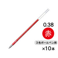 三菱鉛筆(uni) ジェットストリーム替芯(多色・多機能ボールペン用) 0.38mm 赤 SXR-80-38 10本