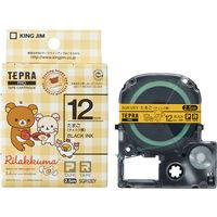 キングジム テプラ PROテープ リラックマ 12mm たまご(チェック黄色)ラベル(黒文字) 1個 SGR12EY