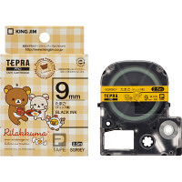キングジム テプラ PROテープ リラックマ 9mm たまご(チェック黄色)ラベル(黒文字) 1個 SGR9EY