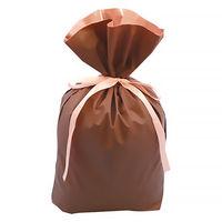 梨地リボン付き巾着(マチ付き) LL ブラウン 1袋(20枚入) カクケイ