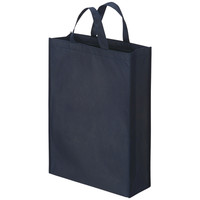 不織布手提げ袋 平紐 ブルー 中 1袋(10枚入) アスクル