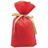 梨地リボン付き巾着(マチ付き) M レッド 1袋(20枚入) カクケイ