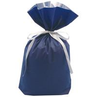 梨地リボン付き巾着(マチ付き) L ネイビー 1袋(20枚入) カクケイ
