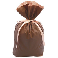 梨地リボン付き巾着(マチ付き) M ブラウン 1袋(20枚入) カクケイ