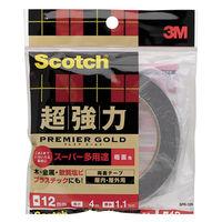 3M スコッチ(R) 超強力両面テープ プレミアゴールド スーパー多用途 粗面用 1.1mm厚 幅12mm×4m巻 1セット(5巻) スリーエム ジャパン