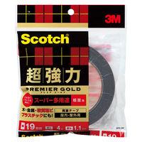 3M スコッチ(R) 超強力両面テープ プレミアゴールド スーパー多用途 粗面用 1.1mm厚 幅19mm×4m巻 1セット(5巻) スリーエム ジャパン