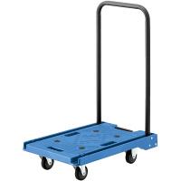 アスクル 「現場のチカラ」 樹脂折りたたみ台車100kg ブルー 1セット(4台)