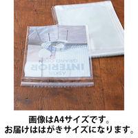 アスクルオリジナル OPP袋(テープ付き) 簡易包装パック はがき用 テープ付き 透明封筒 1袋(500枚入)