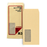 アスクル オリジナル窓付きクラフト封筒 透けないタイプ 長3 3000枚(100枚×30袋)