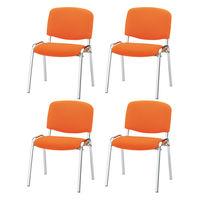 スマイル 会議用チェア VII(背座:布張り スタッキング可能) オレンジ 1箱(4脚入)
