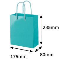 手提げ紙袋小物用 丸紐 アクアブルー L 1袋(5枚入) ハピラ