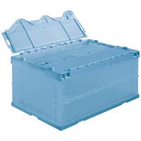 アスクル「現場のチカラ」 物流向け折りたたみコンテナ フタ一体型 74.1L ライトブルー 1セット(30個:5個入×6箱)