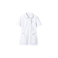 住商モンブラン レディスジャケット(ナースジャケット) 半袖 白/サックスブルー L A73-1424