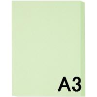 アスクル カラーペーパー A3 ライトグリーン 1箱(500枚×5冊入)