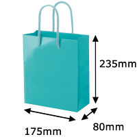 手提げ紙袋小物用 丸紐 アクアブルー L 1セット(50枚:5枚入×10袋) ハピラ