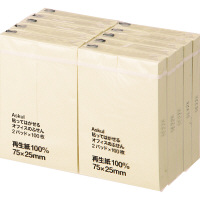 アスクル 貼ってはがせるオフィスのふせん 75×25mm イエロー 100冊(20冊×5パック)
