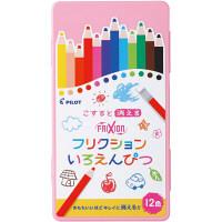 フリクションいろえんぴつ 12色セット ピンクケース 色鉛筆 パイロット