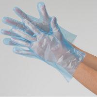 食品加工・調理用 LDポリエチレン手袋 L ブルー 型押しエンボス 1袋(100枚入) 川西工業