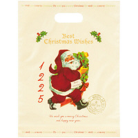 【クリスマス】アンティークサンタクロース 小判抜きポリ手提げ袋 M (10枚) HEADS