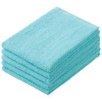 丸眞 少し厚手のフェイスタオル ブルー MS240 1パック(5枚入)